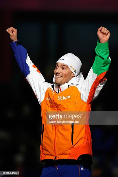 Kjeld Nuis of Netherlands celebrates winning the 1000m Men World Cup on Day 2 of the Essent ISU World Cup Speed Skating Championships 2013 at Thialf...