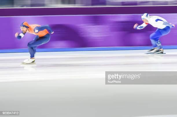 Kjeld Nuis of Netherlands winning the gold medal at 1000 meter speedskating at winter olympics Gangneung South Korea on February 23 2018