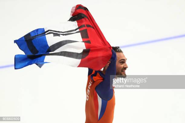 Kjeld Nuis of the Netherlands celebrates as he wins gold during the Men's 1000m on day 14 of the PyeongChang 2018 Winter Olympic Games at Gangneung...