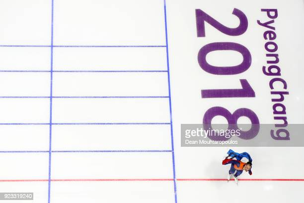 Kjeld Nuis of the Netherlands celebrates winning the gold medal during the Speed Skating Men's 1000m on day 14 of the PyeongChang 2018 Winter Olympic...