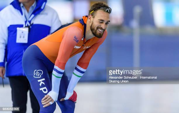 Kjeld Nuis of the Netherlands celebrates winning the Men's 1000m Final during the ISU World Cup Speed Skating Final at Speed Skating Arena on March...
