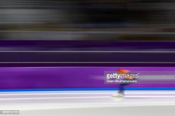 Kjeld Nuis of the Netherlands competes in the final race during the Speed Skating Men's 1000m on day 14 of the PyeongChang 2018 Winter Olympic Games...