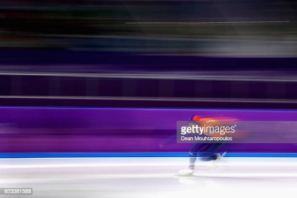 Kjeld Nuis of the Netherlands competes in the final race during the Speed Skating Men's 1,000m on day 14 of the PyeongChang 2018 Winter Olympic Games...