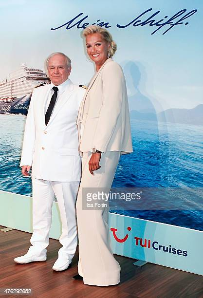 Kjell Holm and Franziska van Almsick during the naming ceremony of the cruise ship 'Mein Schiff 4' on June 5 2015 in Kiel Germany