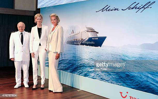 Kjell Holm Wybcke Meier and Franziska van Almsick during the naming ceremony of the cruise ship 'Mein Schiff 4' on June 5 2015 in Kiel Germany