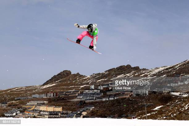 Kjersti Buass of Norway competes in the Women's Snowboard Big Air semi final on day ten of the FIS Freestyle Ski Snowboard World Championships 2017...