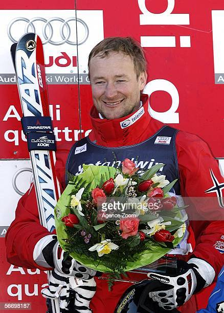 Kjetil Andre Aamodt of Norway celebrates his third place finish in the Men's Super G event during the FIS Skiing World Cup on January 29 2006 in...