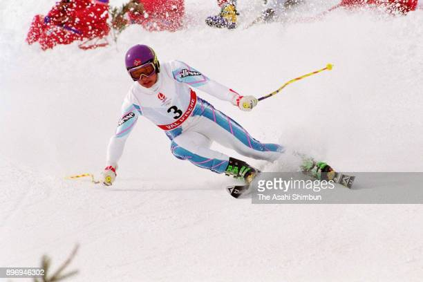 Kjetil Andre Aamodt of Norway competes in the Alpine Skiing Men's SuperG during the Albertville Winter Olympics at the Halle Olympique on February 16...