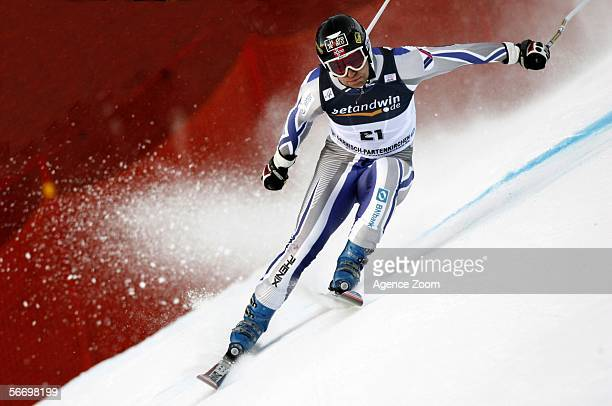 Kjetil Andre Aamodt of Norway competes in the Men's Super G event during the FIS Skiing World Cup on January 29 2006 in Garmisch Germany