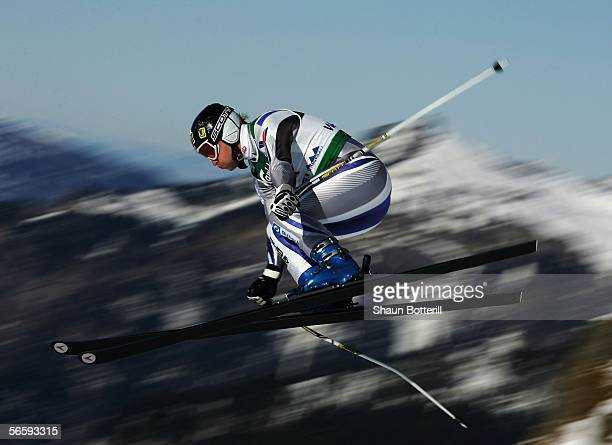 Kjetil Andre Aamodt of Norway in action during the mens downhill of the Wengen FIS World Cup on January 14 2006 in Wengen Switzerland