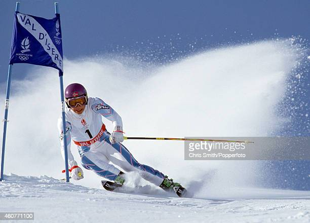 Kjetil Andre Aamodt of Norway in action during the men's Giant Slalom event at the Winter Olympic Games in Albertville on 18th February 1992
