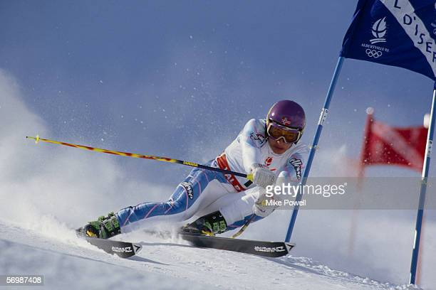Kjetil Andre Aamodt of Norway in action during the mens giant slalom, day 11 at the XVI Olympic Winter Games held on February 18, 1992 in...