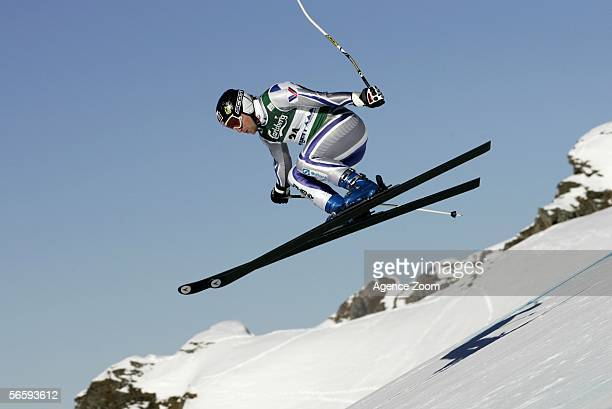 Kjetil Andre Aamodt of Norway who placed fifth competes during the FIS Skiing World Cup Men's Downhill on January 14 2006 in Wengen Switzerland