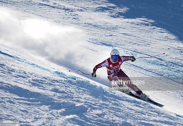Kjetil Jansrud Norway heads down course in the Pete's Arena portion of the course during the 2015 Audi Birds of Prey Men's World Cup downhill at...