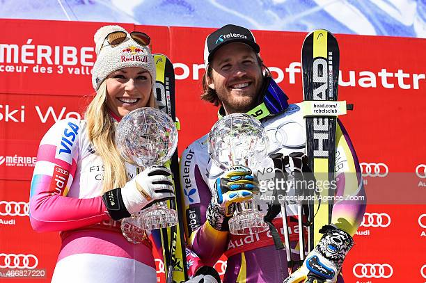 Kjetil Jansrud of Norway and Lindsey Vonn of the USA both win the overall SuperG and Downhill World Cup globes during the Audi FIS Alpine Ski World...