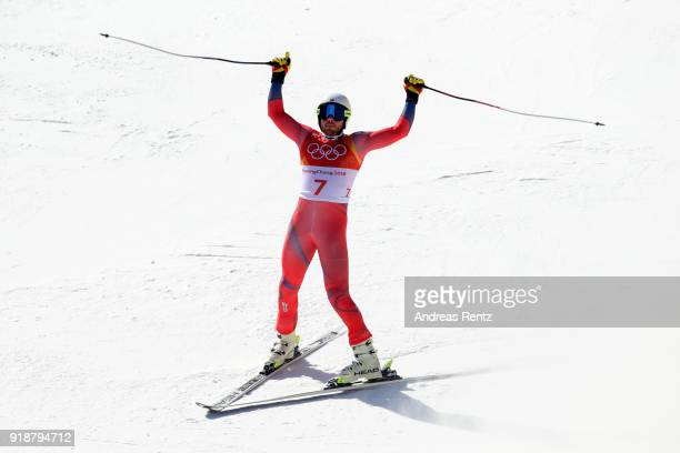 Kjetil Jansrud of Norway celebrates at the finish during the Men's SuperG on day seven of the PyeongChang 2018 Winter Olympic Games at Jeongseon...