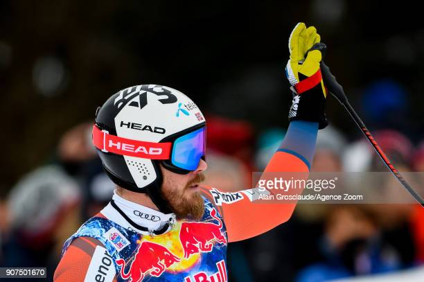 Kjetil Jansrud of Norway celebrates during the Audi FIS Alpine Ski World Cup Men's Downhill on January 20 2018 in Kitzbuehel Austria