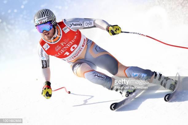 Kjetil Jansrud of Norway competes at the Hahnenkamm Rennen Audi FIS Alpine Ski World Cup Men's Super G at Streif on January 24, 2020 in Kitzbuehel,...