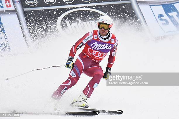 Kjetil Jansrud of Norway competes during the Audi FIS Alpine Ski World Cup Men's Super Combined on February 19 2016 in Chamonix France