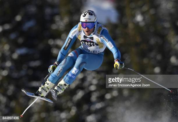 Kjetil Jansrud of Norway competes during the Audi FIS Alpine Ski World Cup Men's Downhill on February 24, 2017 in Kvitfjell, Norway