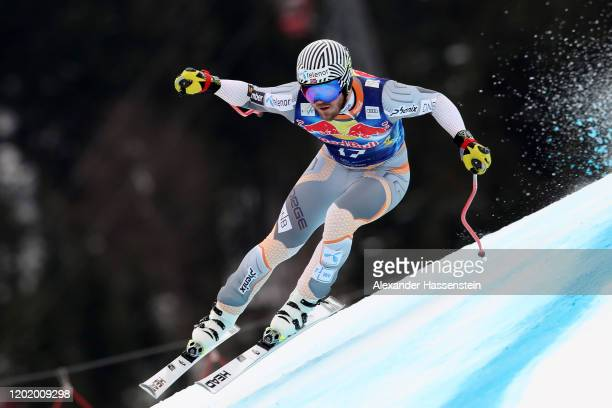 Kjetil Jansrud of Norway competes during the Hahnenkamm Rennen Audi FIS Alpine Ski World Sup Men's Downhill at Streif on January 25 2020 in...