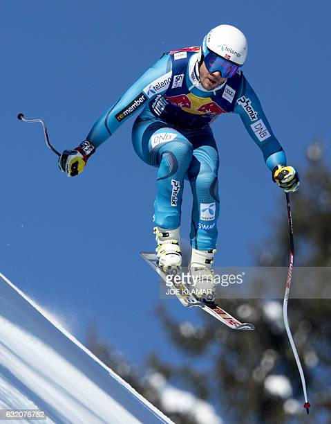 Kjetil Jansrud of Norway competes during the men's third downhill practice of FIS Ski Alpine World Cup at the Hahnenkamm in Kitzbuehel Austria on...