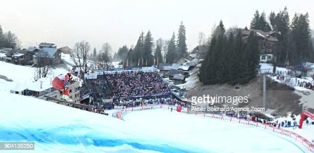 Kjetil Jansrud of Norway in action during the Audi FIS Alpine Ski World Cup Men's Combined on January 12 2018 in Wengen Switzerland