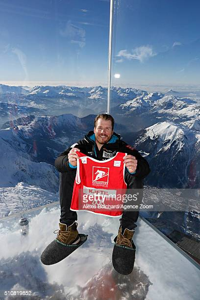 Kjetil Jansrud of Norway in the Aiguille du midi Skywalk during the Audi FIS Alpine Ski World Cup Men's Downhill Training on February 17 2016 in...