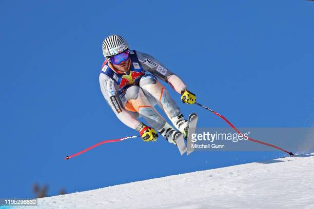 Kjetil Jansrud of Norway jumping at the Hausbergkante during the Audi FIS Alpine Ski World Cup Downhill training on January 22 2020 in Kitzbuhel,...