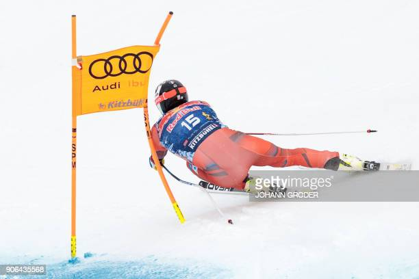 Kjetil Jansrud of Norway performs during a training session of the FIS Alpine World Cup Men's downhill event in Kitzbuehel Austria on January 18 2018...