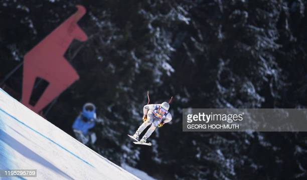 Kjetil Jansrud of Norway performs during the first practice run for the men's downhill event at the FIS Alpine Ski World Cup in Kitzbuehel Austria on...
