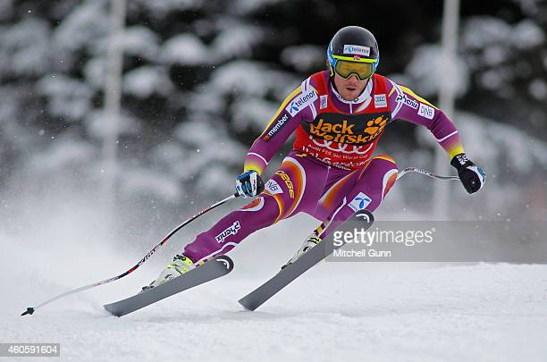 Kjetil Jansrud of Norway races down the course during the Audi FIS Alpine Ski World Cup Downhill training on December 17 2014 in Val Gardena Italy