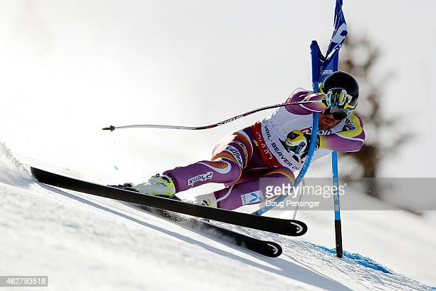 Kjetil Jansrud of Norway races during the Men's Super-G on the Birds of Prey racecourse on Day 4 of the 2015 FIS Alpine World Ski Championships on...