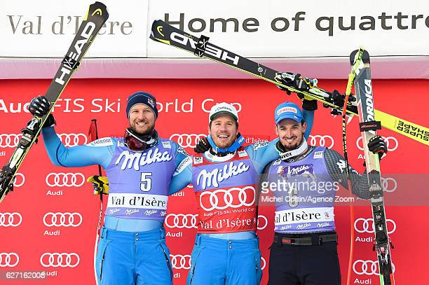 Kjetil Jansrud of Norway takes 1st place Aksel Lund Svindal of Norway takes 2nd place Dominik Paris of Italy takes 3rd place during the Audi FIS...
