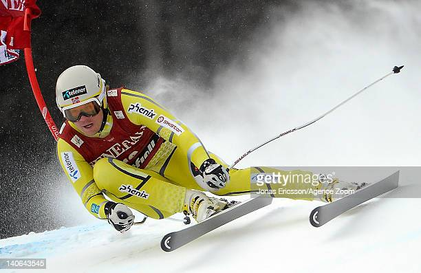 Kjetil Jansrud of Norway takes 1st place competes during the Audi FIS Alpine Ski World Cup Men's SuperG on March 4, 2012 in Kvitfjell, Norway.