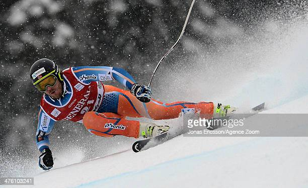 Kjetil Jansrud of Norway takes 1st place during the Audi FIS Alpine Ski World Cup Men's Super-G on March 02, 2014 in Kvitfjell, Norway.