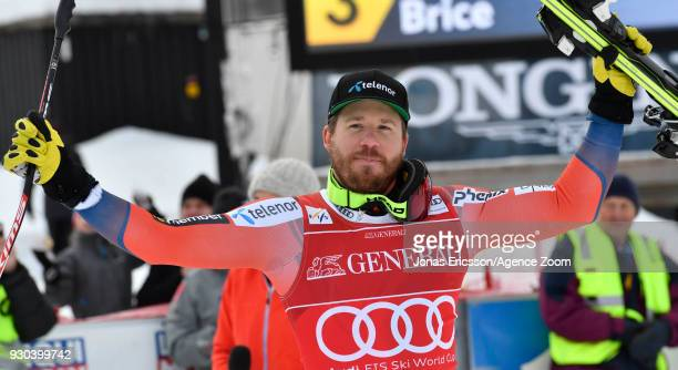 Kjetil Jansrud of Norway takes 1st place during the Audi FIS Alpine Ski World Cup Men's Super G on March 11, 2018 in Kvitfjell, Norway.