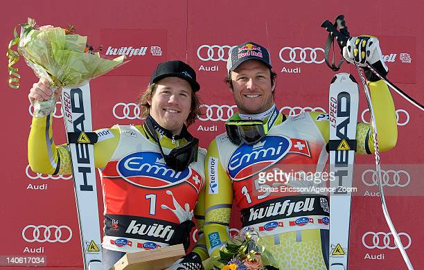 Kjetil Jansrud of Norway takes 2nd place, Aksel Lund Svindal of Norway takes 3rd place during the Audi FIS Alpine Ski World Cup Men's Downhill on...