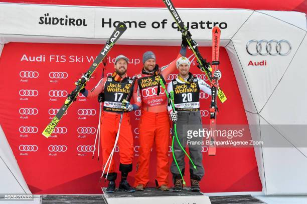 Kjetil Jansrud of Norway takes 2nd place Aksel Lund Svindal of Norway takes 1st place Max Franz of Austria takes 3rd place during the Audi FIS Alpine...