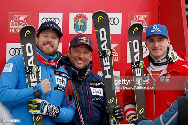 Kjetil Jansrud of Norway takes 2nd place Aksel Lund Svindal of Norway takes 1st place Matthias Mayer of Austria takes 3rd place during the Audi FIS...