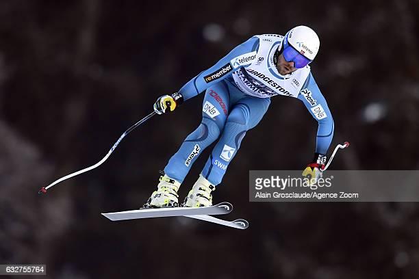 Kjetil Jansrud of Norway takes 2nd place during the Audi FIS Alpine Ski World Cup Men's Downhill Training on January 26 2017 in GarmischPartenkirchen...