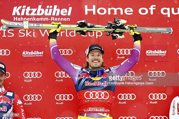 Kjetil Jansrud of Norway takes the 1st place during the Audi FIS Alpine Ski World Cup Men's Downhill on January 24 2015 in Kitzbuehel Austria
