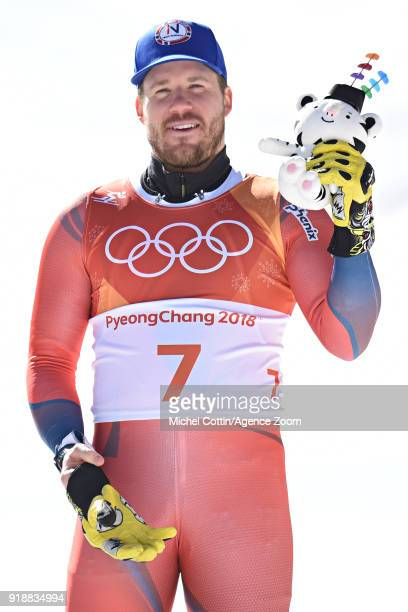 Kjetil Jansrud of Norway wins the bronze medal during the Alpine Skiing Men's SuperG at Jeongseon Alpine Centre on February 16 2018 in Pyeongchanggun...
