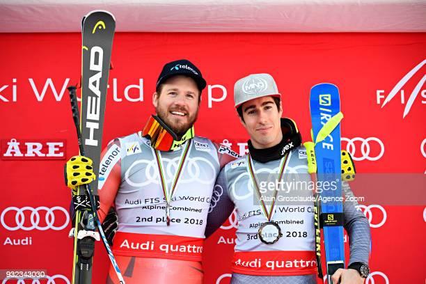 Kjetil Jansrud of Norway wins the globe in the men alpine combined standing Victor Muffatjeandet of France takes 3rd place in the men alpine combined...