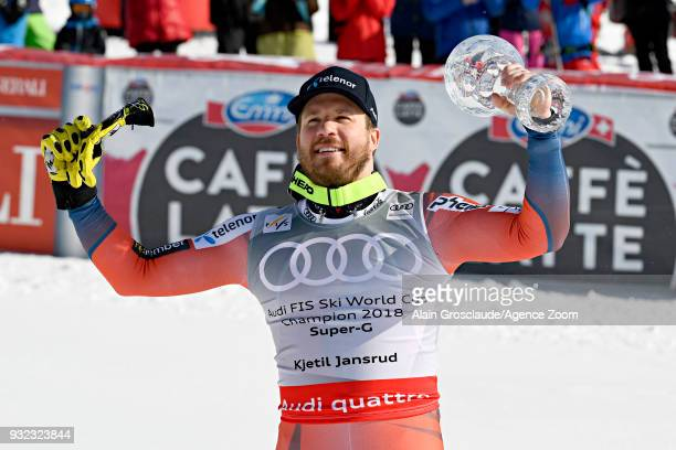 Kjetil Jansrud of Norway wins the globe in the men super G standing during the Audi FIS Alpine Ski World Cup Finals Men's and Women's Super G on...