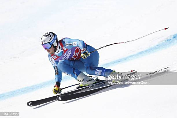 Kjetil Jansrud of Norway wins the globe in the overall standings during the Audi FIS Alpine Ski World Cup Finals Women's and Men's SuperG on March 16...
