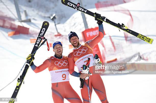Kjetil Jansrud of Norway wins the silver medal, Aksel Lund Svindal of Norway wins the gold medal during the Alpine Skiing Men's Downhill at Jeongseon...