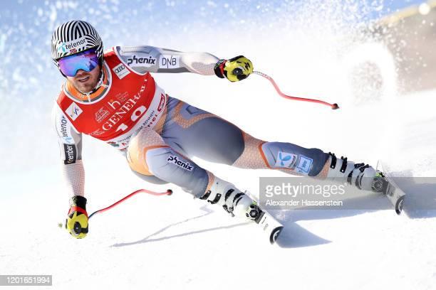 Kjetil Jansurd of Norway competes at the Hahnenkamm Rennen Audi FIS Alpine Ski World Cup Men's Super G at Streif on January 24, 2020 in Kitzbuehel,...