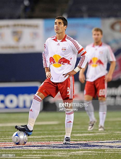 KJuan Pablo Angel of the New York Red Bulls in action against the Toronto FC during their game at Giants Stadium on October 4 2008 in East Rutherford...