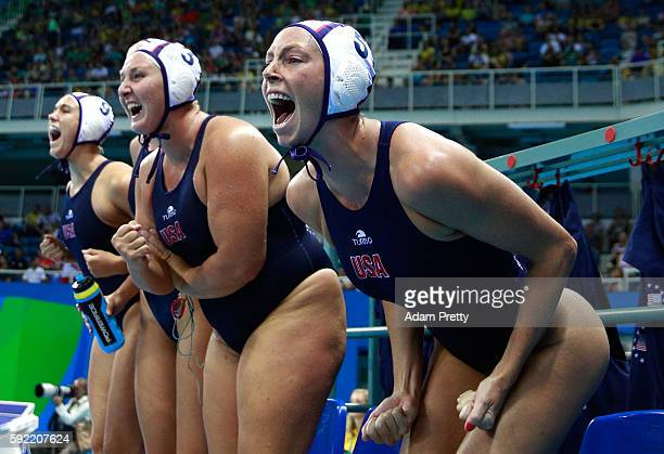 Kk Clark of United States and Melissa Seidemann of United States celebrate in the Women's Water Polo Gold Medal Classification match between the...